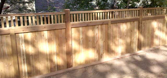 Privacy Fence with Decorative Top Bar